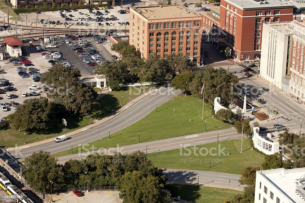 Dealey Plaza and the former Texas School Book Depository building stock photo