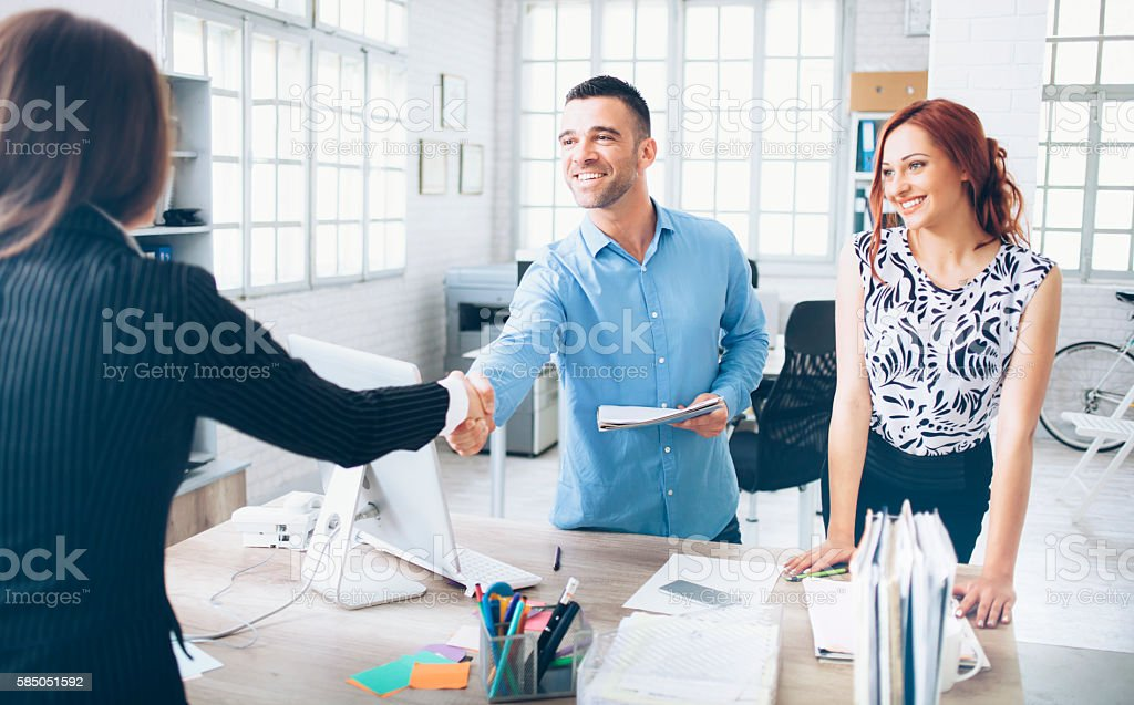 Dealing at the office stock photo