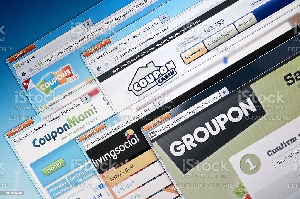 Deal-of-the-day companies web sites stock photo