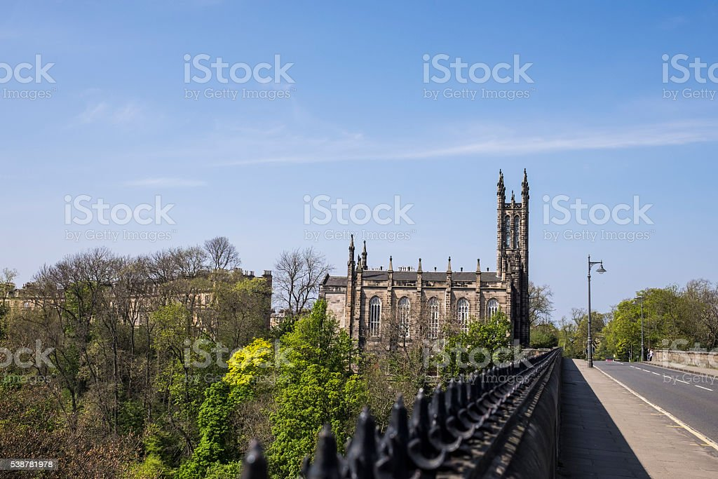 Dean Bridge, Edinburgh looking towards Holy Trinity Church stock photo