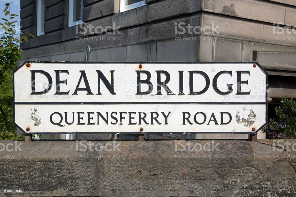 Dean Bridge Street Sign; Edinburgh; Scotland stock photo