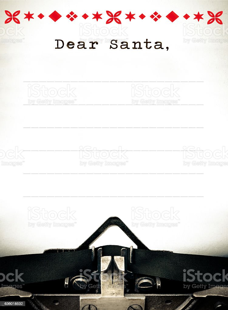 Dear Santa, Typewriter wish list letter stock photo
