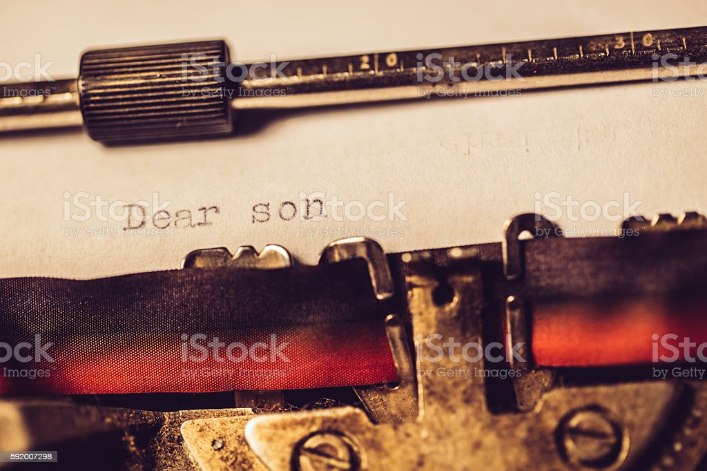 'Dear son' typed using an old typewriter stock photo