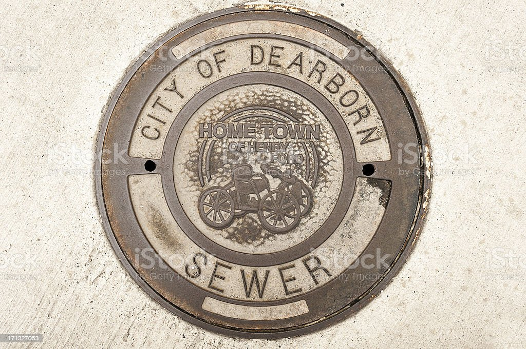 Dearborn Manhole Cover stock photo