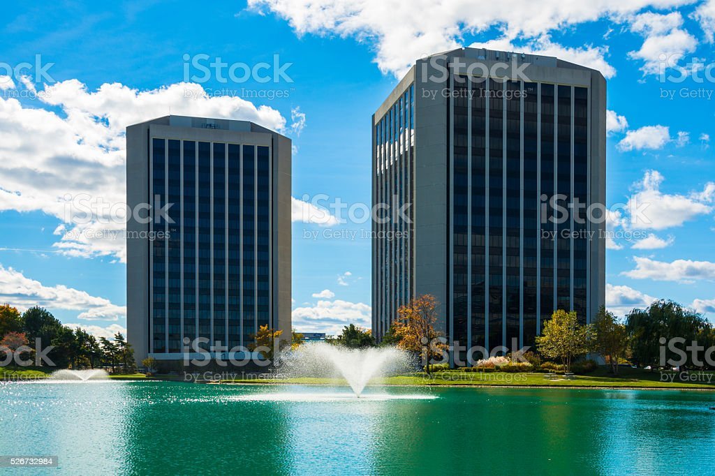 Dearborn, Michigan highrise office buildings stock photo