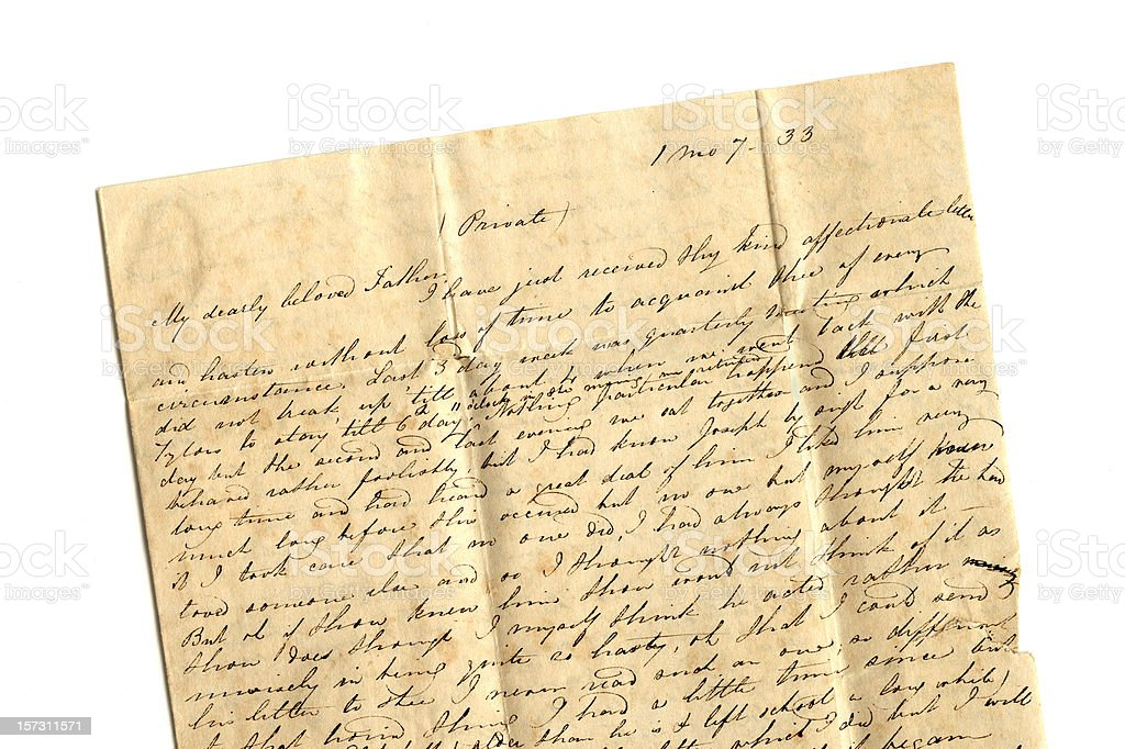 Dearly beloved father - part of a 19th century letter stock photo