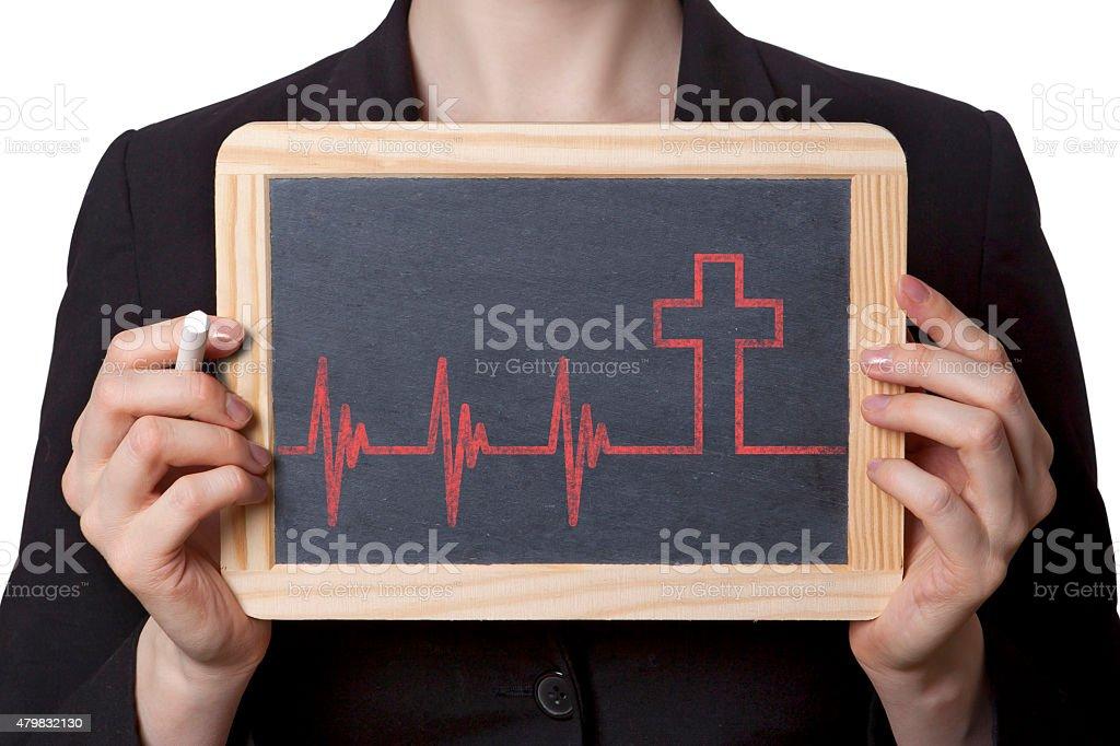 Death black board stock photo
