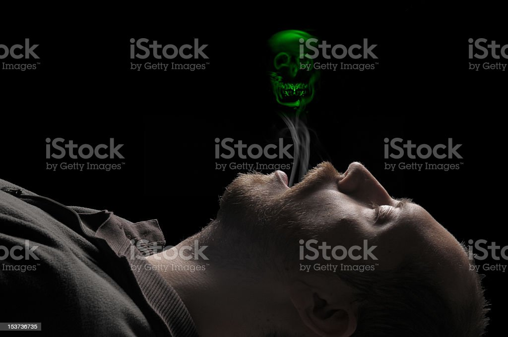 Death by toxic substance. stock photo