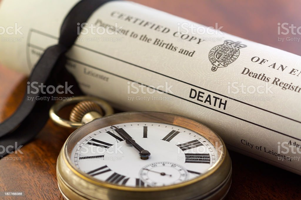 Death Certificate and Pocket Watch at Midnight stock photo