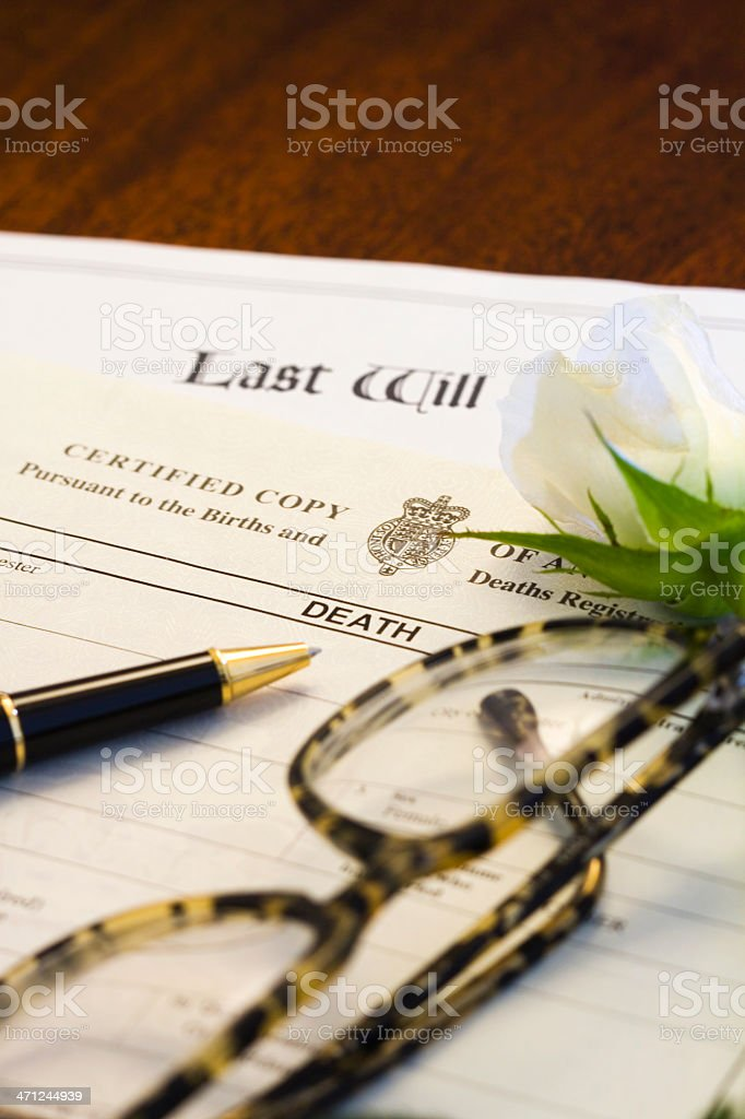 Death Certificate and Will stock photo