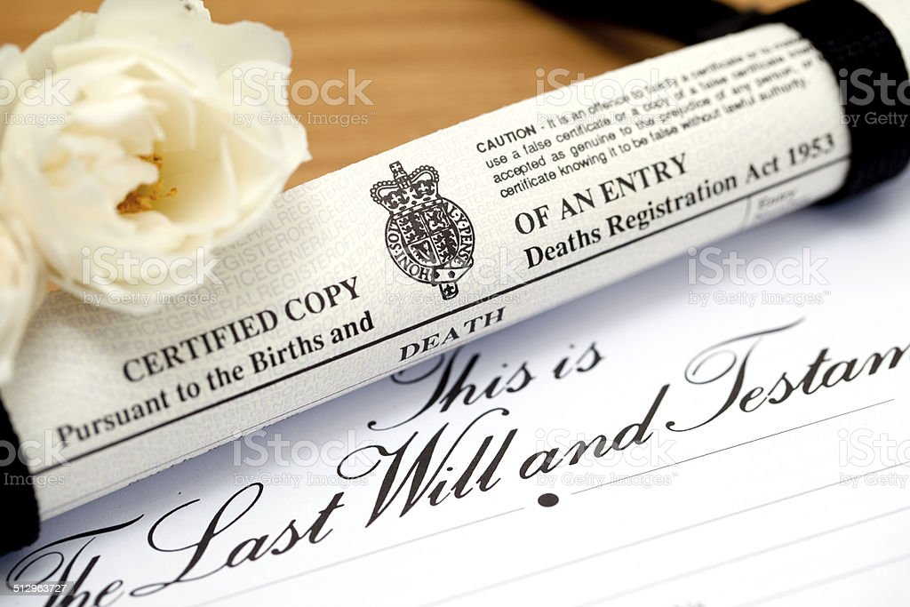 UK Death Certificate and Will stock photo
