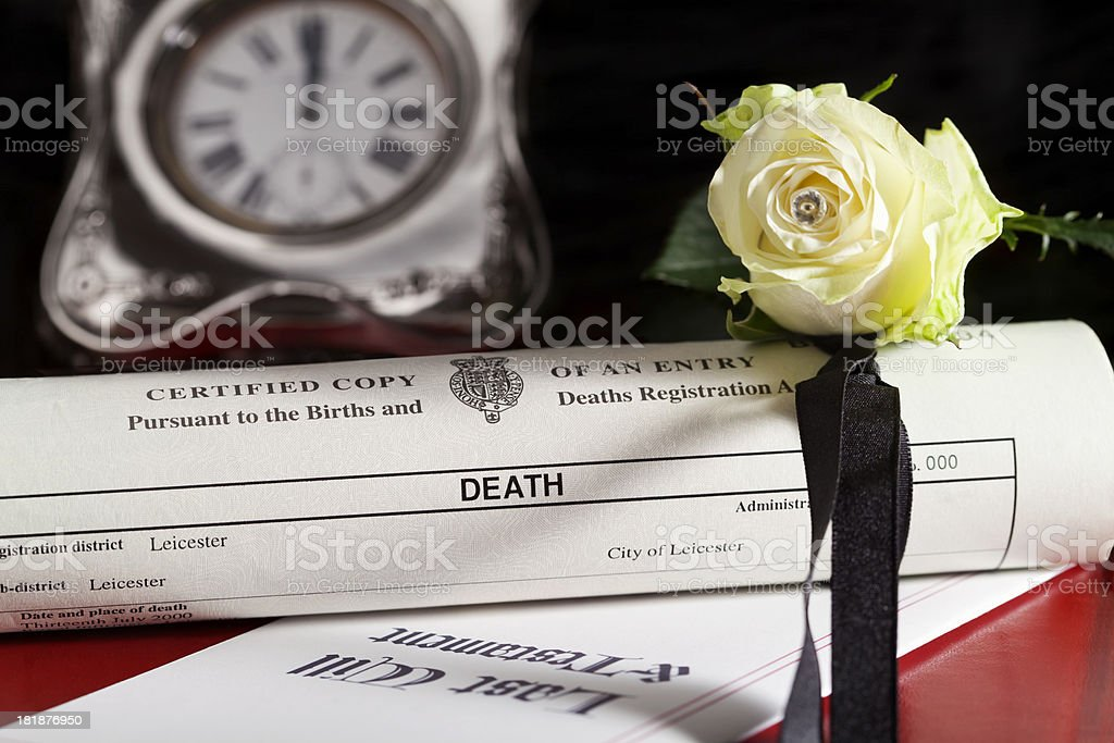 Death Certificate & Last Will stock photo