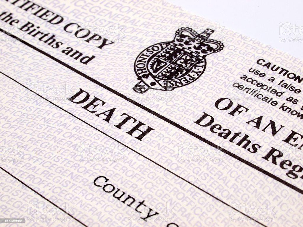 UK Death Certificate stock photo
