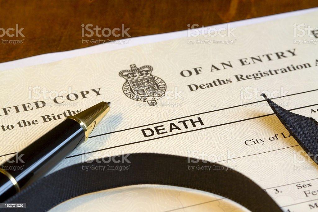 Death Certificate stock photo