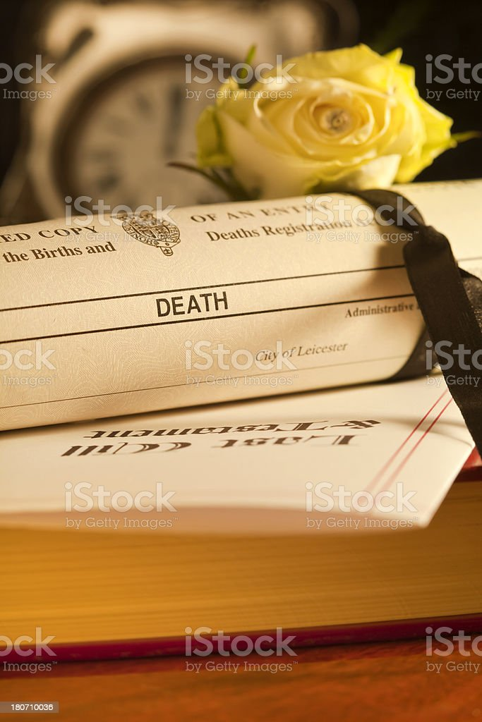 UK Death Certificate & Will stock photo