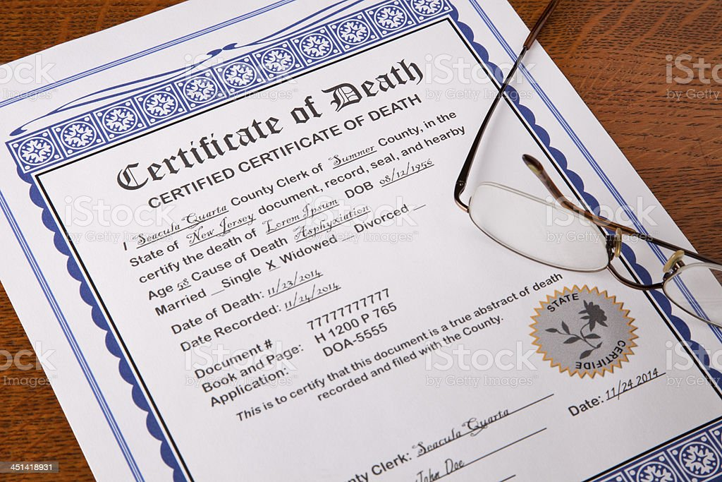Death Certificate with fake names and information stock photo