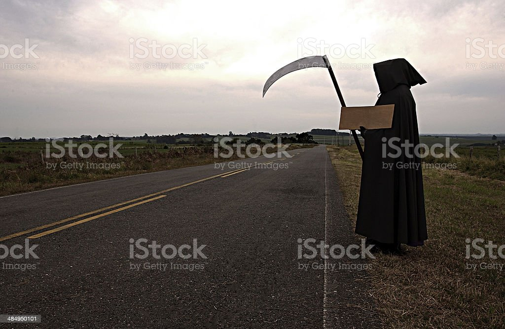 Death hitchhiking stock photo