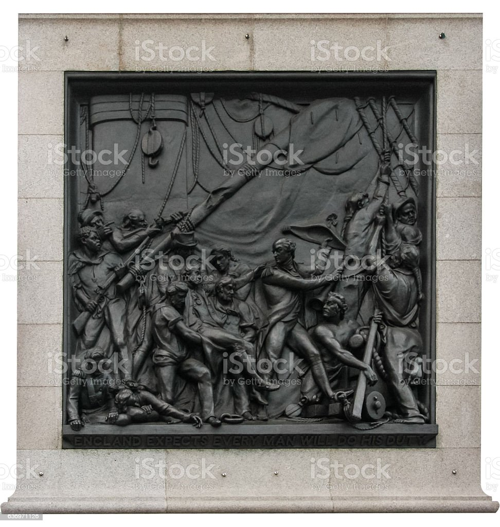 Death of Nelson, on Nelsons Column, London stock photo