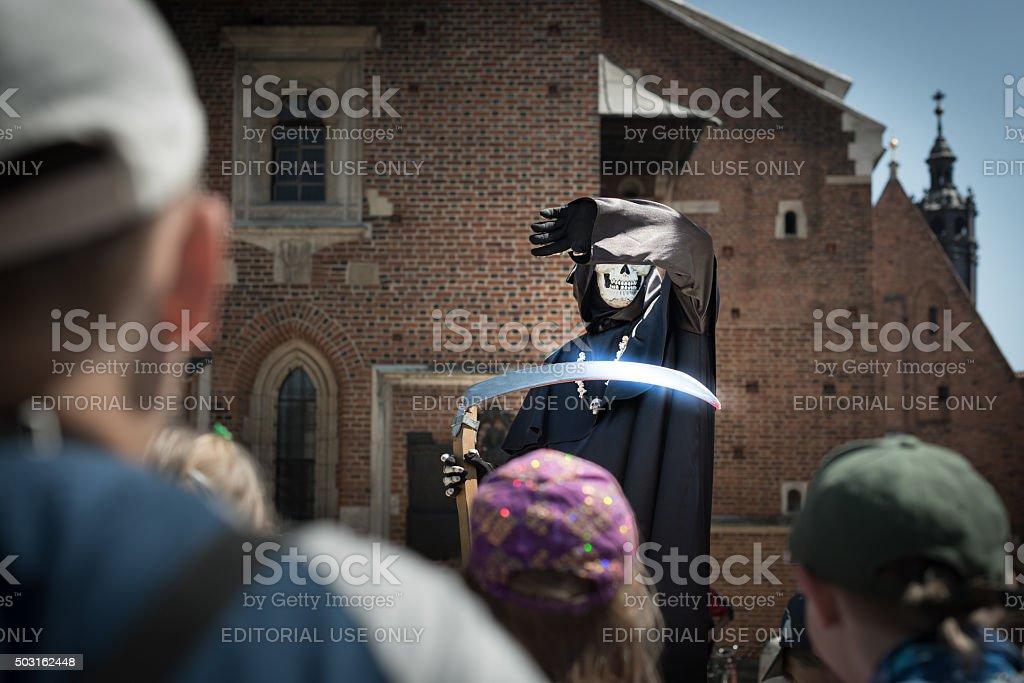 Death on street of Krakow, Poland, Europe. stock photo
