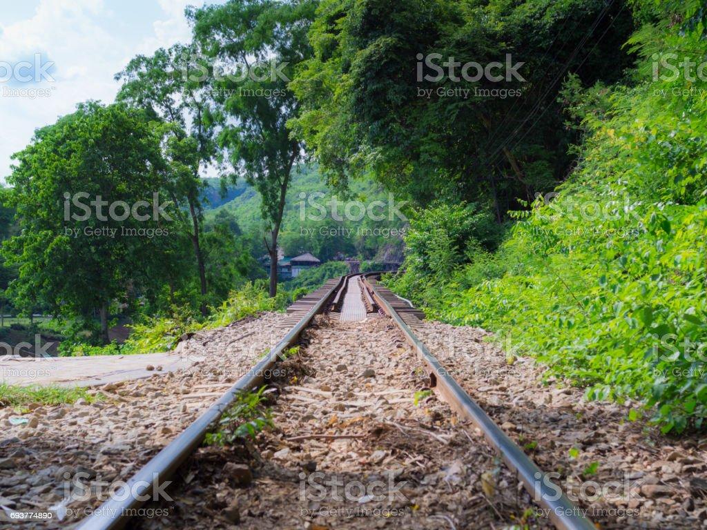 Death railway, built during World War II, Thailand stock photo