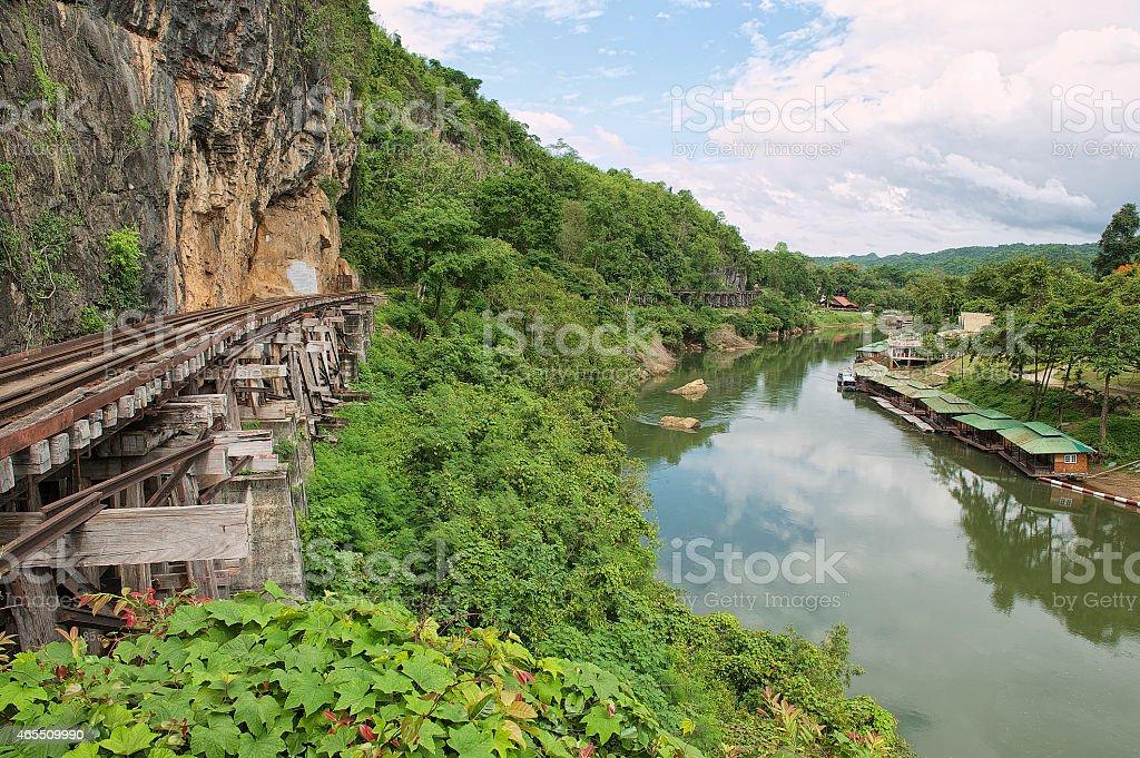 Death railway follows bents of the river Kwai, Kanchanaburi, Thailand. stock photo