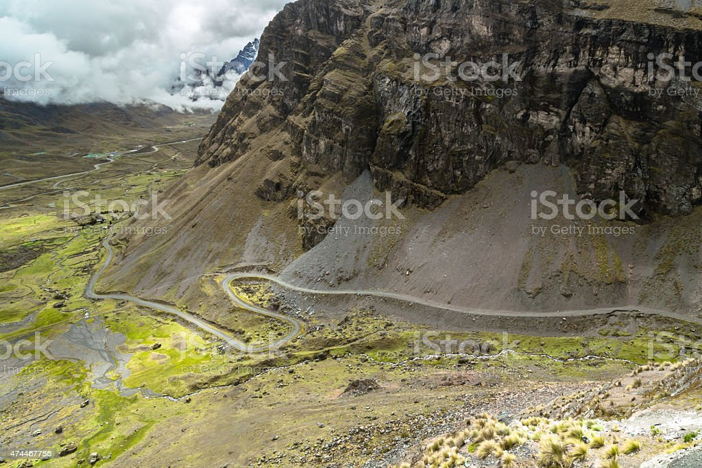 Death Road in Bolivian Andes stock photo