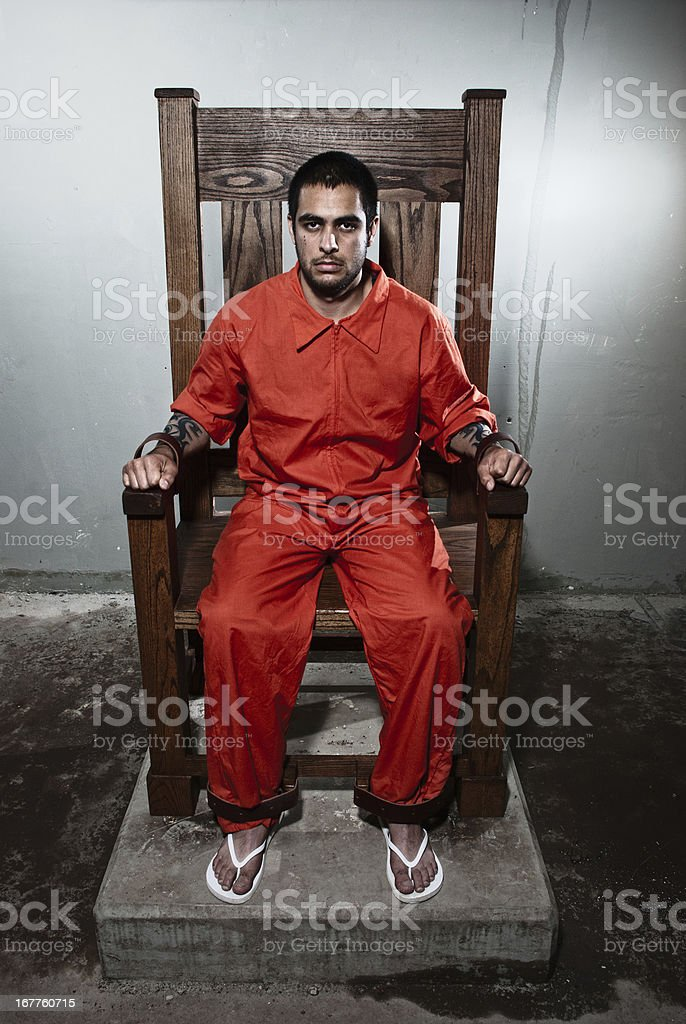 Death Row Inmate in Electric Chair stock photo