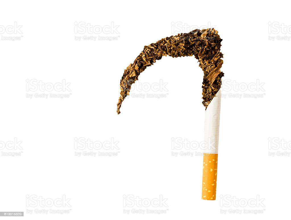 death scythe made by cigarette and tobacco stock photo