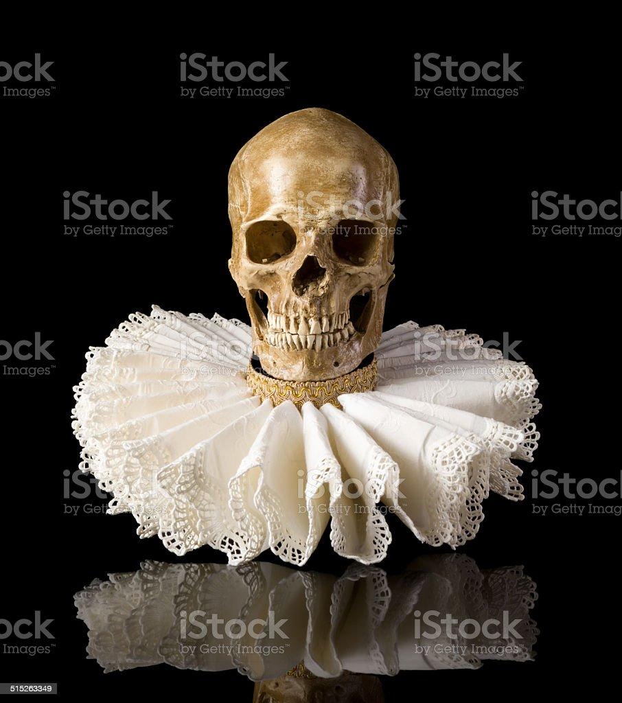 Death skull in elisabethan ruff collar stock photo