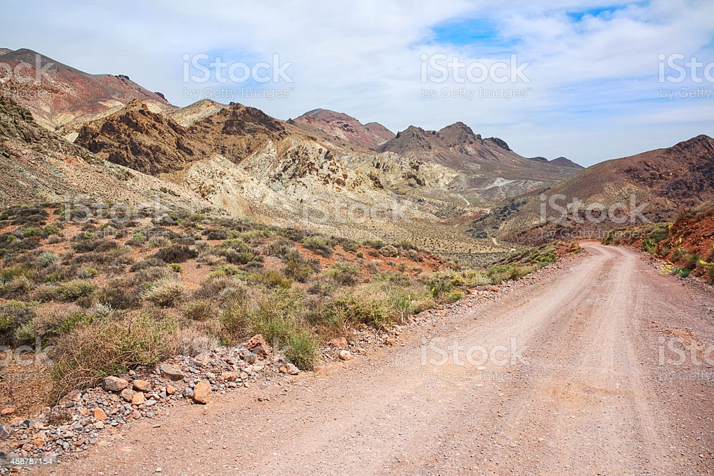 Death Valley Dirt Road through Titus Canyon stock photo