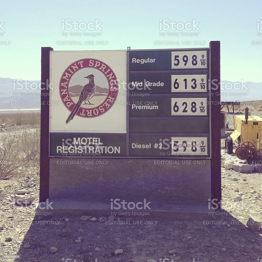 Death Valley Gas Station Price Sign stock photo