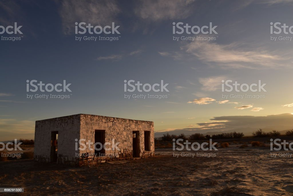 Death Valley Junction ghost town from mining of Borax in the late 1800's stock photo