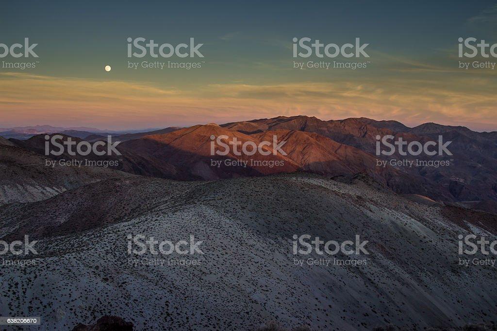 Death Valley Moonrise stock photo