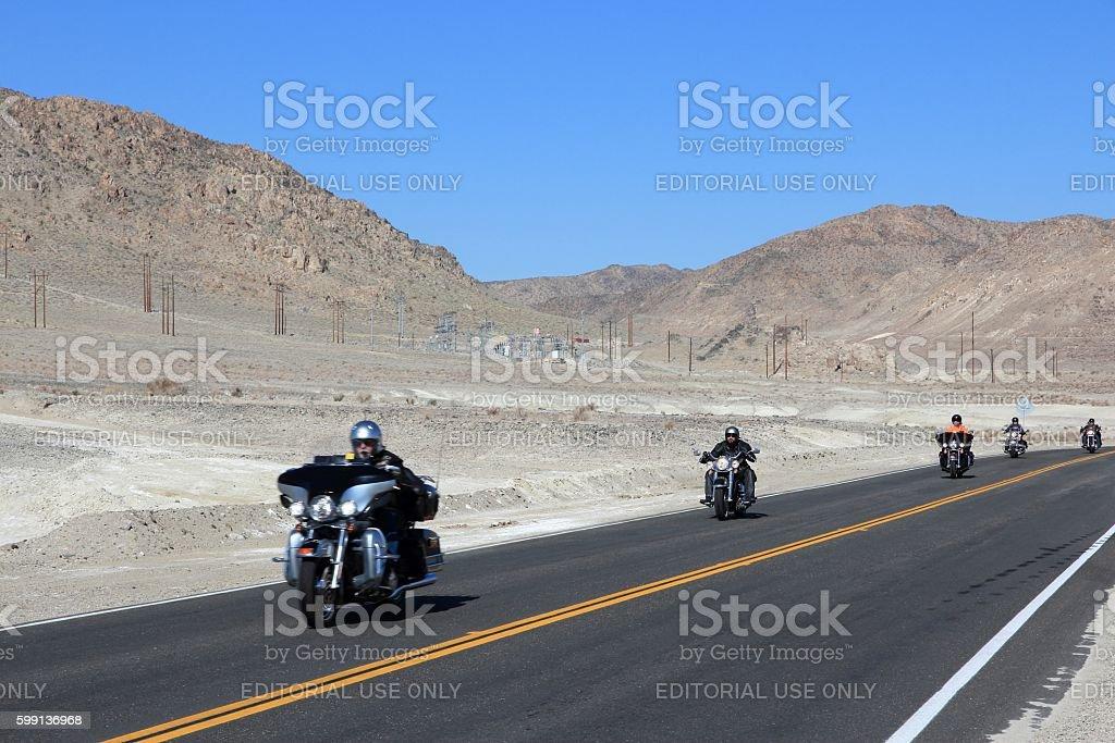 Death Valley motorbikes stock photo