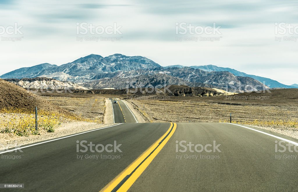 death valley road landscape stock photo