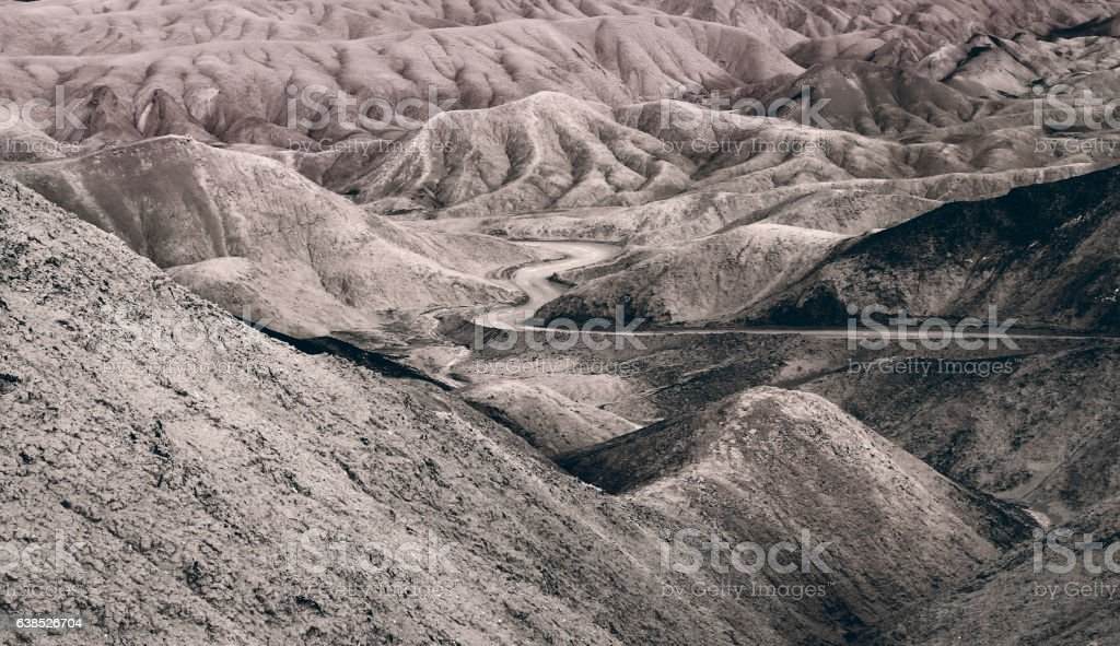 Death Valley weaving mountain road stock photo