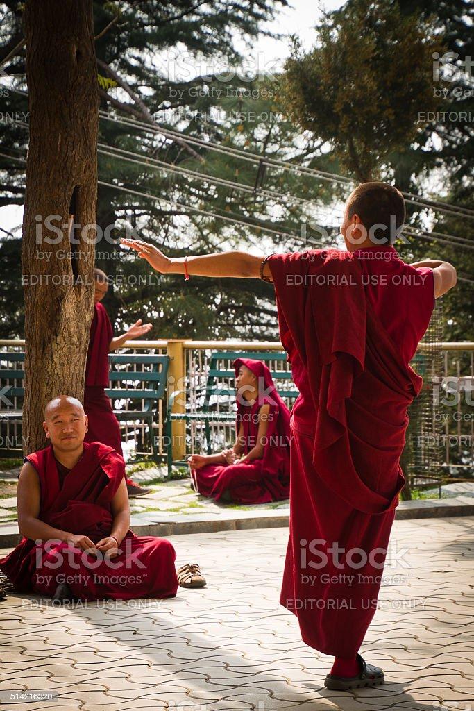 Debating Buddhist monks, Dalai Lama temple, McLeod Ganj, India stock photo