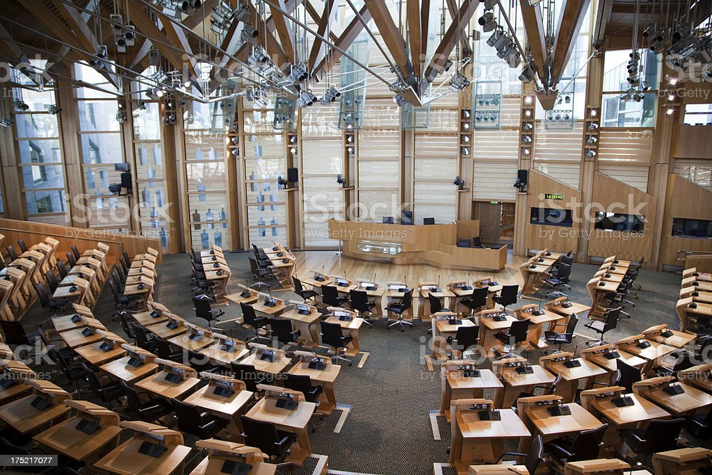 Debating Chamber of the Scottish Parliament Building stock photo