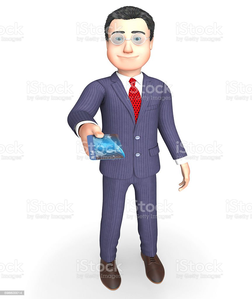 Debit Card Represents Business Person And Banking 3d Rendering stock photo