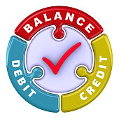 Debit, credit, balance. Check mark in the form of puzzle