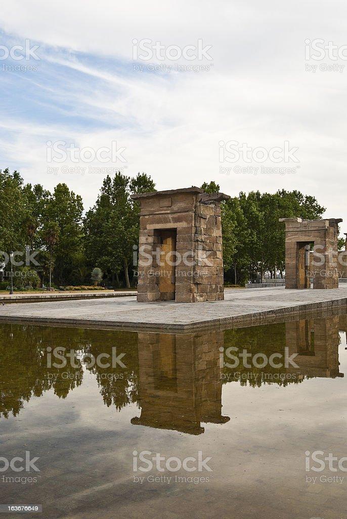 Debod temple in Madrid city stock photo