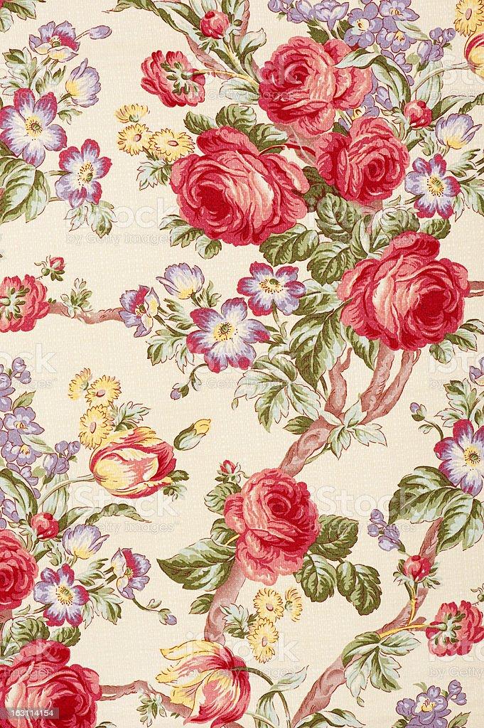 Debonair Close Up Antique Floral Fabric royalty-free stock photo