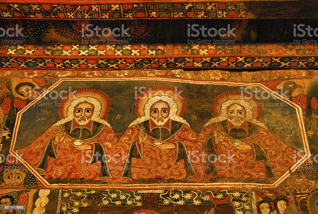 Debre Birhan Selassie Church in Gondar, Ethiopia stock photo