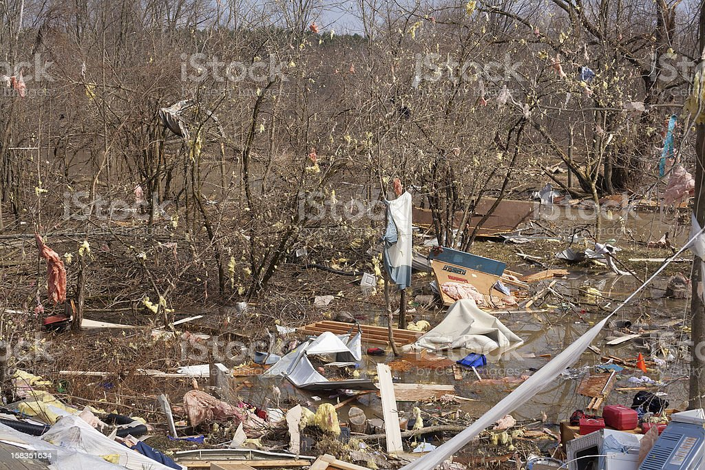 Debris From a Home Damaged by an F2 Tornado. royalty-free stock photo