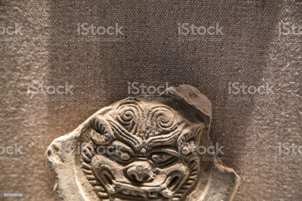 Debris of Chinese ancient carved tile stock photo