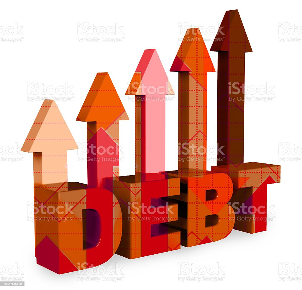 Debt Arrows Means Financial Obligation And Bankruptcy 3d Renderi stock photo