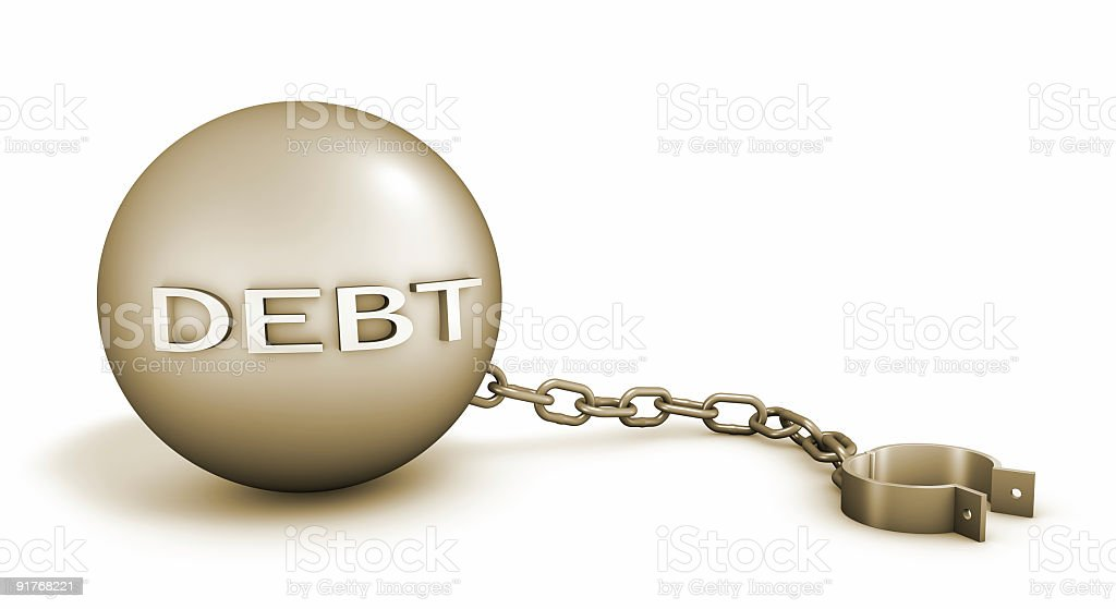 Debt - Ball and Chains royalty-free stock photo