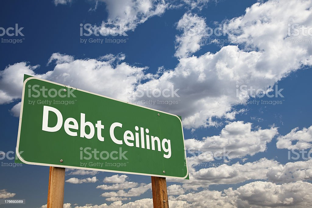 Debt Ceiling Green Road Sign stock photo