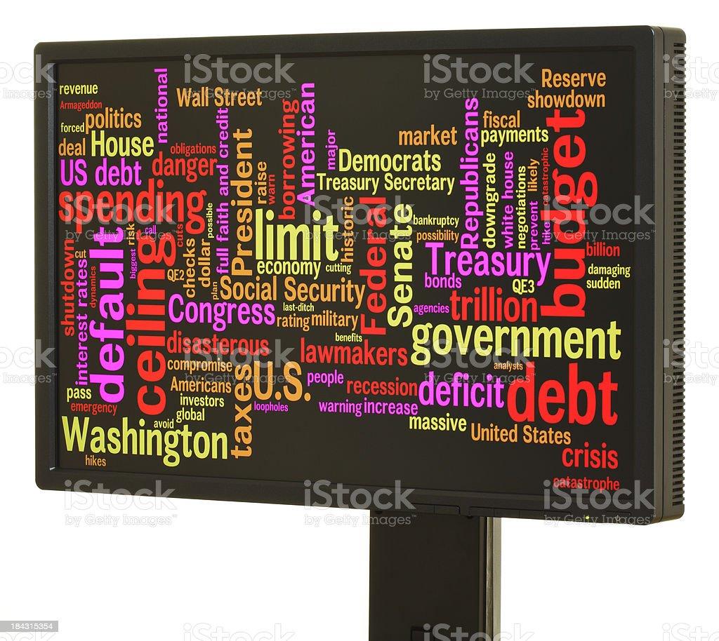 US debt ceiling word cloud royalty-free stock photo