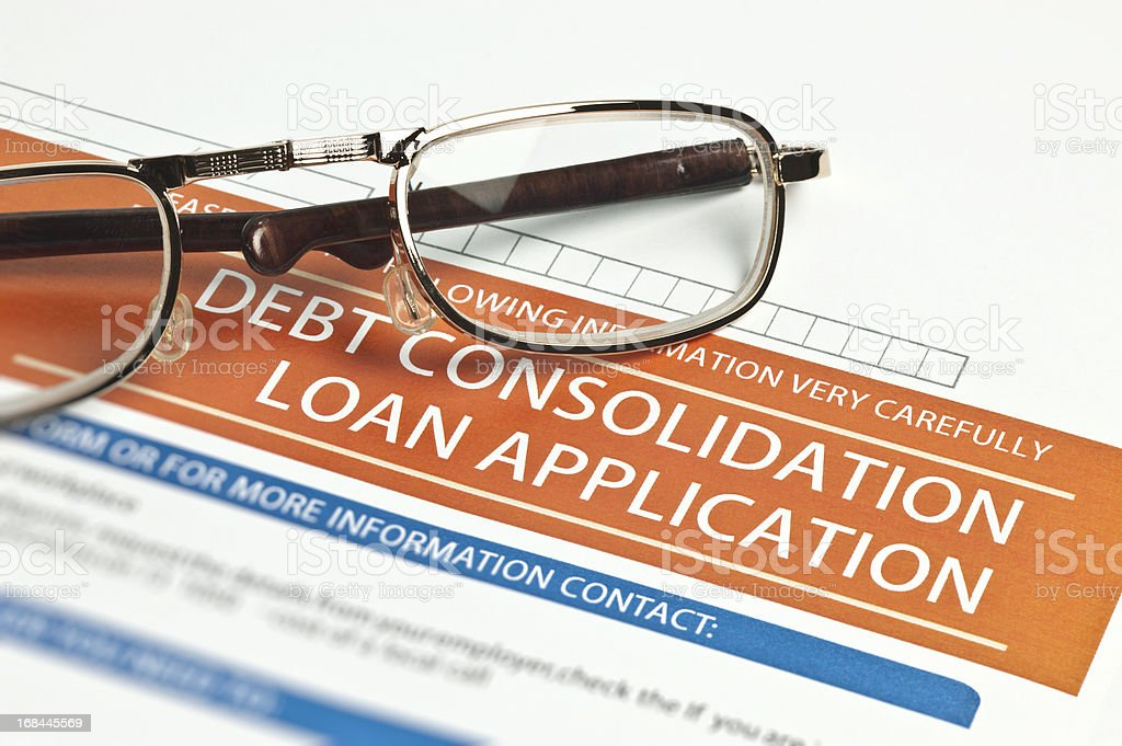 Debt Consolidation Loan Application stock photo